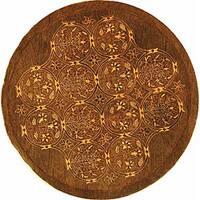 Safavieh Handmade Royalty Dark Olive New Zealand Wool Rug - 6' x 6' Round