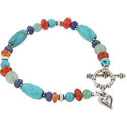 Charming Life Sterling Silver Turquoise/ Carnelian/ Lapis Bracelet