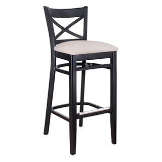 Solid Wood X-back Microfiber Seat Bar Stool