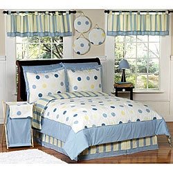 Blue and yellow modern dots full queen bedding set free - Yellow and blue bedding queen ...