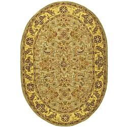 Safavieh Handmade Classic Kasha Gold Wool Rug (4'6 x 6'6 Oval)