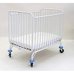 LA Baby Compact Folding Metal Crib with Mattress