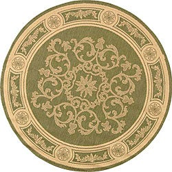 Safavieh Indoor/ Outdoor Sunny Olive/ Natural Rug (5'3 Round)
