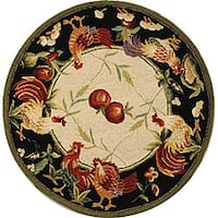 "Safavieh Hand-hooked Rooster Garden Ivory/ Black Wool Rug - 5'6"" x 5'6"" round"