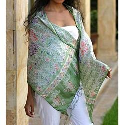 Handmade Silk 'Jade Mums' Batik Shawl (Indonesia)