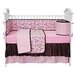 Shop Tadpoles Pink And Brown Toile 4 Piece Crib Set Free