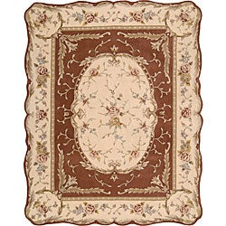 Nourison Hand-tufted Scalloped Copper Rug (7'3 x 9'3)