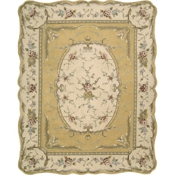Nourison Hand-tufted Scalloped Gold Rug (7'3 x 9'3) - Thumbnail 0