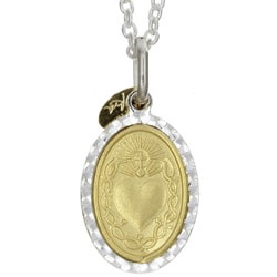 Sterling Essentials Sterling Silver and 14k Gold Sacred Heart Medal Necklace