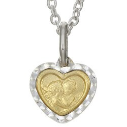 Sterling Silver and 14k Gold Raphael Angels Necklace