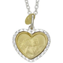 Sterling Essentials Sterling Silver and 14k Gold Angels Heart Necklace