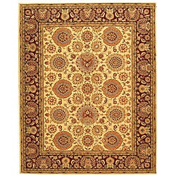 Safavieh Handmade Legacy Beige/ Burgundy Wool and Silk Rug (6' x 9')