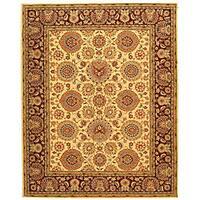 Safavieh Handmade Legacy Beige/ Burgundy Wool and Silk Rug - 6' x 9'