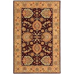 Safavieh Handmade Treasures Burgundy/ Beige Wool and Silk Rug (4' x 6') - 4' x 6'
