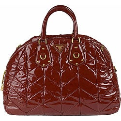 bc36258913d222 Shop Prada Quilted Patent Leather Bowler Bag - Free Shipping Today ...