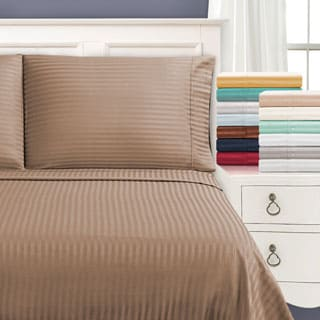 Beau Superior Egyptian Cotton 650 Thread Count Olympic Queen Stripe Sheet Set