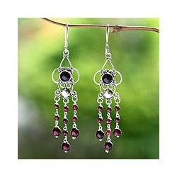 Silver and Garnet 'Princess Dew' Earrings (Indonesia)