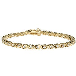 Simon Frank 14k Gold Overlay CZ XOXO Tennis Bracelet