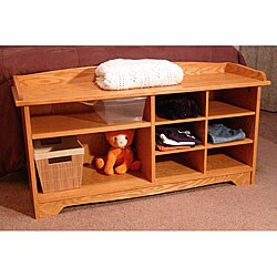 Surprising Half Cubby Golden Oak Bench Overstock Com Shopping The Best Deals On Benches Machost Co Dining Chair Design Ideas Machostcouk