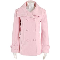 Black Rivet Women's Pink Button-front Wool Peacoat - Free Shipping