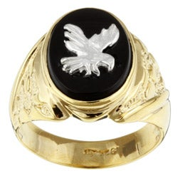 14k Gold over Silver Onyx Patriotic Eagle Ring