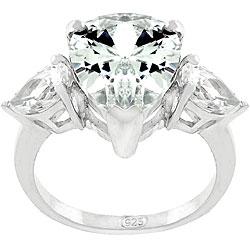 Silvertone 'Premier Passion' CZ 3-stone Ring