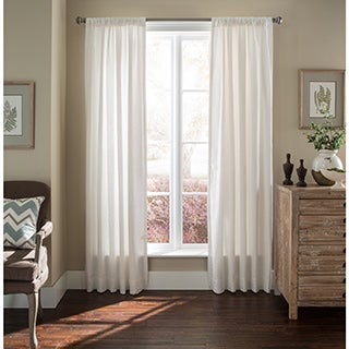 Luxury White 100-Percent Flax Linen Curtain Panel (Single)