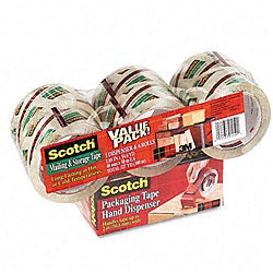 3M Scotch Mailing and Storage Tape with Dispenser (Pack of 6)