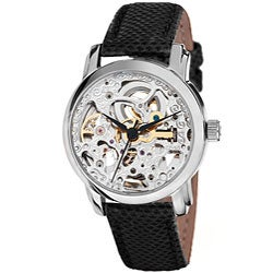 Akribos XXIV Women's Skeleton Automatic Silver-Tone Strap Watch