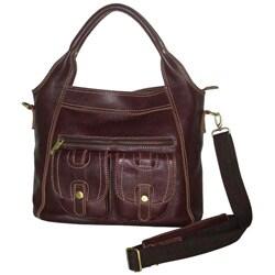 Amerileather Elizabeth Two-pocket Leather Tote Bag