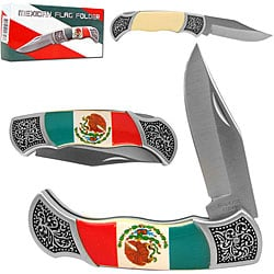 Mexican Flag Folding Pocket Knife with Sheath - Thumbnail 0