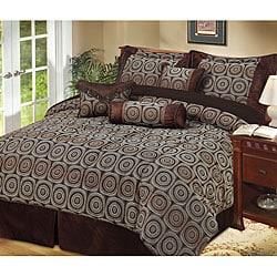 Arcadia 7-piece Chocolate Brown Comforter Set - Thumbnail 0