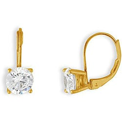 Simon Frank 5mm 14k Gold Overlay CZ Basket-set Earrings
