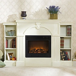 Luxemburg White Bookcase Electric Fireplace With Remote Free Shipping Today