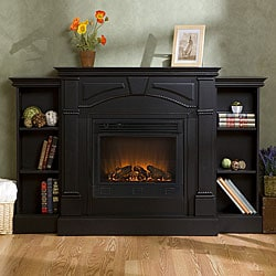 Macon Black Electric Fireplace with Bookcases