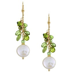 Lola's Jewelry Goldfill White Coin Pearl and Peridot Fringe Earrings