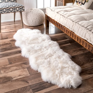 nuLOOM Alexa Double Natural Soft Sheepskin Wool Shag Rug (1'6 x 5'6)