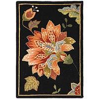 Safavieh Hand-hooked Botanical Black Wool Rug - 1'8 x 2'6