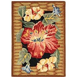 Safavieh Hand-hooked Floral Black Wool Rug (1'8 x 2'6) - Thumbnail 0