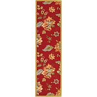 Safavieh Hand-hooked Botanical Red Wool Runner Rug - 2'6 x 12'