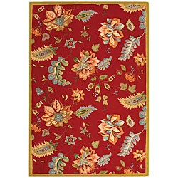 Safavieh Hand-hooked Botanical Red Wool Rug (5'3 x 8'3)