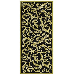 Safavieh Hand-hooked Ferns Black/ Olive Wool Runner (2'6 x 6')