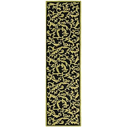 Safavieh Hand-hooked Ferns Black/ Olive Wool Runner (2'6 x 10')