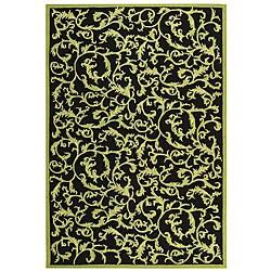 Safavieh Hand-hooked Ferns Black/ Olive Wool Rug (7'9 x 9'9)