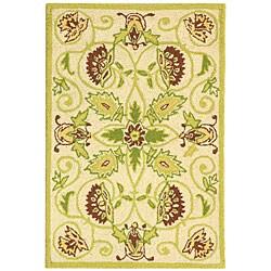 Safavieh Hand-hooked Bedford Ivory/ Green Wool Rug (1'8 x 2'6)