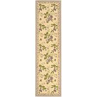 """Safavieh Hand-hooked Transitional Ivory/ Violet Wool Runner - 2'-6"""" x 12'"""