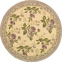 Safavieh Hand-hooked Transitional Ivory/ Violet Wool Rug - 8' x 8' Round