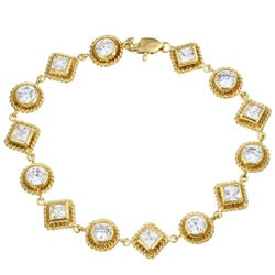 14k Gold over Silver CZ Circles and Squares Bracelet