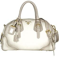 Prada White Pebble Deerskin Bowler Bag - Thumbnail 0