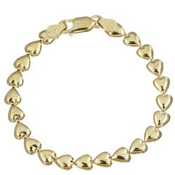 Caribe 14k Gold over Silver Italian Heart Link Bracelet